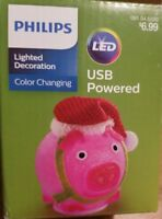 Philips PINK Christmas USB Powered LED Lion with Santa Hat Desktop NEW