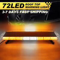 72 LED Emergency Warning Beacon Strobe Light Bar Tow Truck Car Roof AMBER WHITE