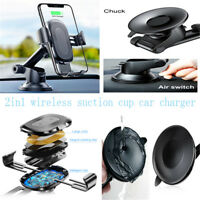 Portable Black Qi Wireless Car Charger For iPhone / Samsung Suction Cup Holders