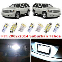 14x White LED Bulb Interior Light Package Kit For 2002-2014 Chevy Suburban Tahoe