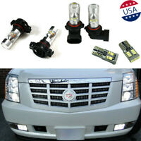 6Pcs White LED Fog Driving DRL Light Bulbs Combo For 2007-2014 Cadillac Escalade