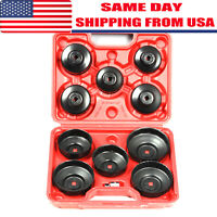 11Pcs Cap Type Oil Filter Wrench Set Socket Tools Automotive Removal Kit w/Case