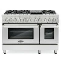 Commercial-Style 48 in. 5.8 cu. ft. Double Oven Dual Fuel Range 6 Sealed Burners