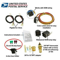 Car Electric Cooling Fan Wiring Harness Thermostat Temp Switch Sensor Relay Kit