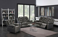Living Room Double Recliner Reclining Grey Pu Leather Sofa/Loveseat/Recliner Set