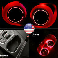 2pc Solar Cup Pad Car Accessories LED Light Cover Interior Decoration Light RED