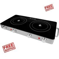 2 Electric Burner Infrared Double Stove Countertop Portable Dual Cook Glass Top