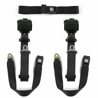 Desoto 1929 - 1945 Standard 3pt Black Retractable Bench Seat Belt Kit - 3 Belts