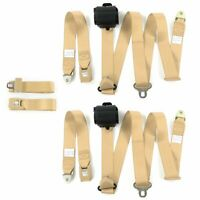 Desoto 1929 - 1945 Standard 3pt Tan Retractable Bench Seat Belt Kit - 3 Belts