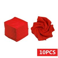 10 Pcs Red Microfiber Washcloth Auto Car Care Cleaning Towel Soft Cloth Tool