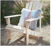Outdoor Patio Yard Garden Wooden Adirondack Chair Unfinished Wood Deck Lawn NEW