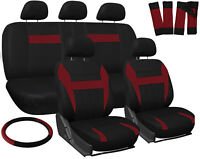 Car Seat Covers for Ford Mustang Red Black w/ Steering Wheel/Belt Pad/Head Rests