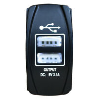 Power Outlet Dual USB Car Charger Adapter 5V 3.1A LED WHITE Rocker Switch Size