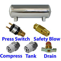 3 Gallon STAINLESS Air Tank 5-port train horn & air suspension WITH all fittings