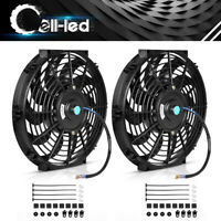 2x12''inch Slim Push Pull Electric Radiator Cooling Fan 12V Mount Kits Universal