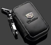 K-KB New Leather Cadillac Car Key Chain Coin Holder Zipper Case Remote Fob