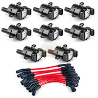 Set of 8 Ignition Coils Kit with 8 pcs Spark Plug Wires For Chevy NEW