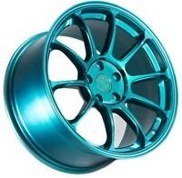 18X9 AodHan AH06 5X100 Rims +30 Teal Concave Wheels (Set of 4)