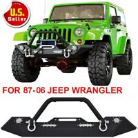 For 1987-2006 Jeep Wrangler YJ TJ Front Bumper Winch Plate&Built-in Led Light