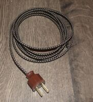 BLACK & BROWN ~ 8' Cloth Covered Lamp Cord & Vintage Plug ~ Light Fan Appliance