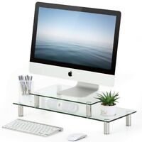 Clear Tempered Glass Computer TV Monitor Riser Desktop Adjustable TV Stand