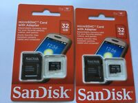 2pc New sealed 32gb Sandisk micro SDHC MEMORY CARD + SanDisk ADAPTER camera,cell