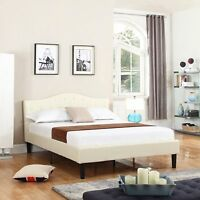 Classic Deluxe Bonded Leather Queen Low Profile Platform Bed Frame