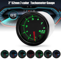 Universal 2''52mm 7 Color LED Car Motor RPM Tacho Tachometer Gauge Meter Pointer