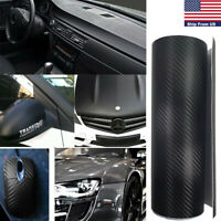 Matte Black Carbon Fiber Texture Car Body Wrap Sticker Interior Decal Trim 12x60