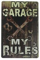 bedroom furnishing ideas My Garage My Rules tin metal sign