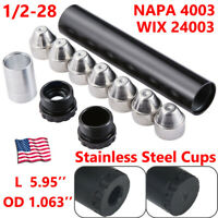 1/2-28 Car Fuel Solvent Filter Stainless Steel Cups NAPA 4003 WIX 24003 Car Used