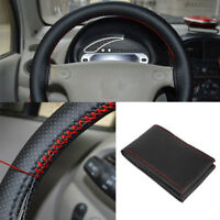 Black+Red PU Leather Warming Car Steering Wheel DIY Cover With Needles Thread Z