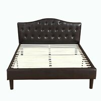 Classic Bonded Leather Low Platform Bed Frame Curved Headboard Espresso, QUEEN