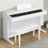 White Electric 88 Key LCD Digital Piano Keyboard w/Bench+3 Pedal+Board Cover