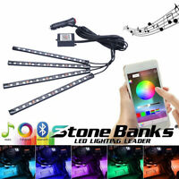 RGB 4xLED Strips Car Interior Floor Atmosphere Light Bluetooth Phone App Control