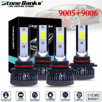 4 Bulbs 9005+9006 240W 52000LM Combo LED Headlight High Low Beam 6000K White Kit