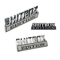 2pc SHITBOX EDITION emblem Chrome Badges Fits RAM GMC Chevy Ford Jeep GM Truck
