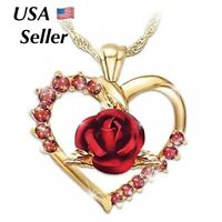 Heart Red Cubic Rose Flower Pendant Necklace Gold Plated Girlfriend Wife  N104