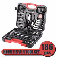 186 Pieces Home Repair Tool Kit Carbon Steel for Household Use