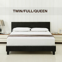 Twin Full Queen Size Faux Leather Platform Bed Frame&Slats Upholstered Headboard