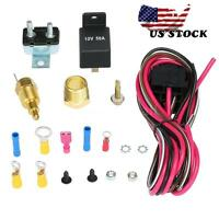 Electric Cooling Fan Wiring 170-185 Degree Relay Thermostat Kit US Delivery Hot
