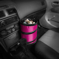 Auto Car Trash Can Portable Collapsible Waterproof Small Pink