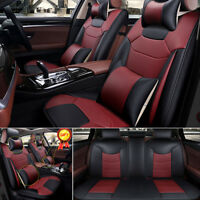 US 5-Seat Car S Size Burgundy Microfiber Leather Seat Covers Front+Rear+Pillows