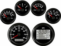 6 Gauge Set  Speedometer Tacho Fuel Volt Meter Oil Pressure Temp Black  US STOCK