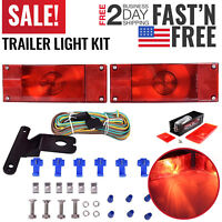 Trailer Lights Kit Rear Tail Lights For Trucks Red White Marker RV Camper