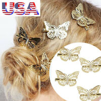 Set of 6 Gold Butterfly Hair Clips Accessories Womens Girls Bridal Barrette USA