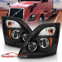 2004-2017 Replacement Black Hi/Lo Beam LED Bulb Headlight Pair for Volvo VNL/VNX