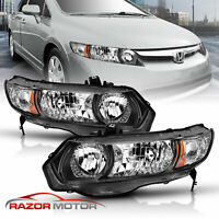 2006-2011 Black Replacement Headlight Pair For Honda Civic 2dr Coupe Si, DX, LX