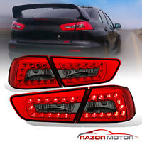 2008-2015 Red Smoke LED Brake Tail Lights Pair For Mitsubishi Lancer 4Door Sedan