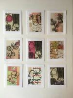 Greeting Cards Set of 9 Blank Any Occasion, Original Art, Flowers, Free Shipping